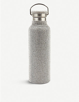 COLLINA STRADA: Stainless steel and rhinestone-mesh water bottle