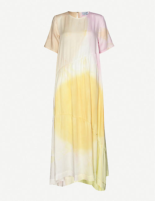 COLLINA STRADA: Ritual tie-dye rose-sylk maxi dress