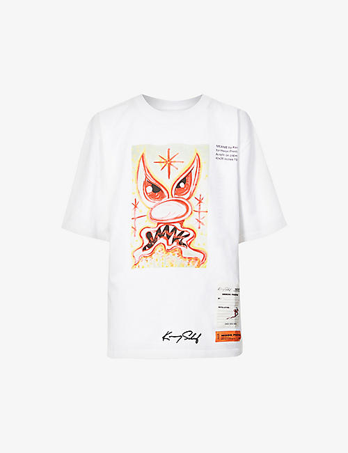 HERON PRESTON: Kenny Scharf meanie-print cotton-jersey T-shirt