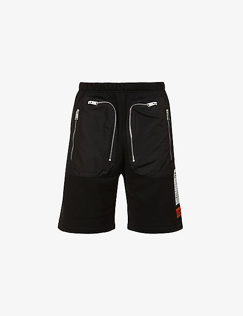 HERON PRESTON: Relaxed-fit zipped organic-cotton jersey shorts