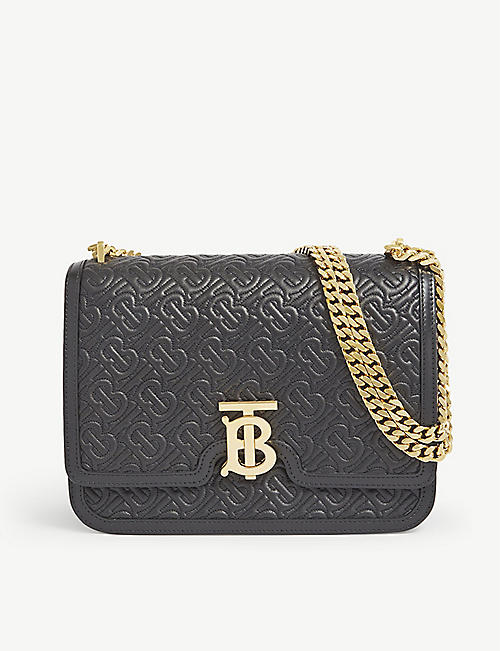 BURBERRY: TB monogram medium leather shoulder bag