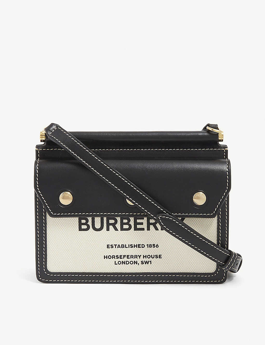 Burberry BABY LEATHER AND CANVAS SHOULDER BAG