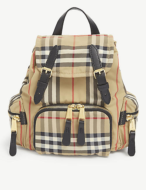 BURBERRY: Vintage Check small canvas backpack