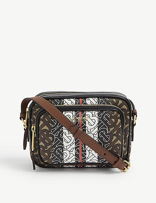 BURBERRY: TB monogram E-canvas camera bag