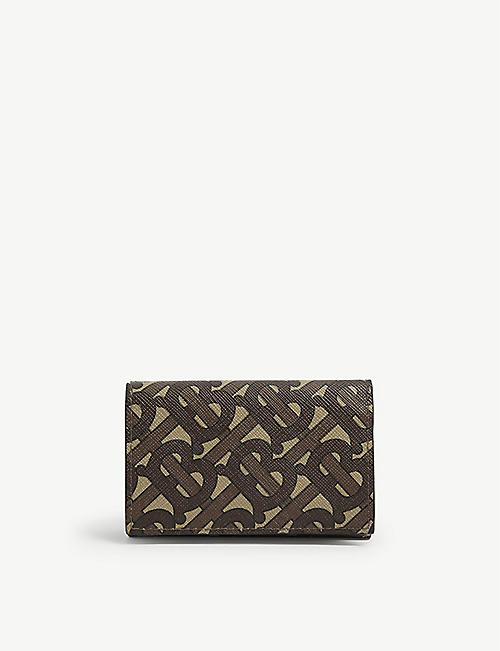 BURBERRY: Monogram print leather wallet
