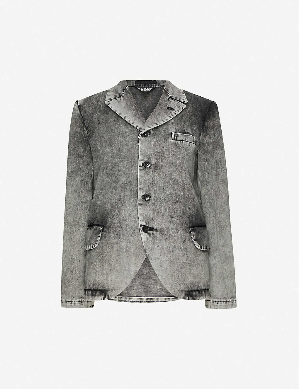 BLACK COMME DES GARCON: Single-breasted relaxed-fit denim blazer