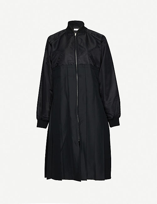 BLACK COMME DES GARCON: Pleated-panel woven coat