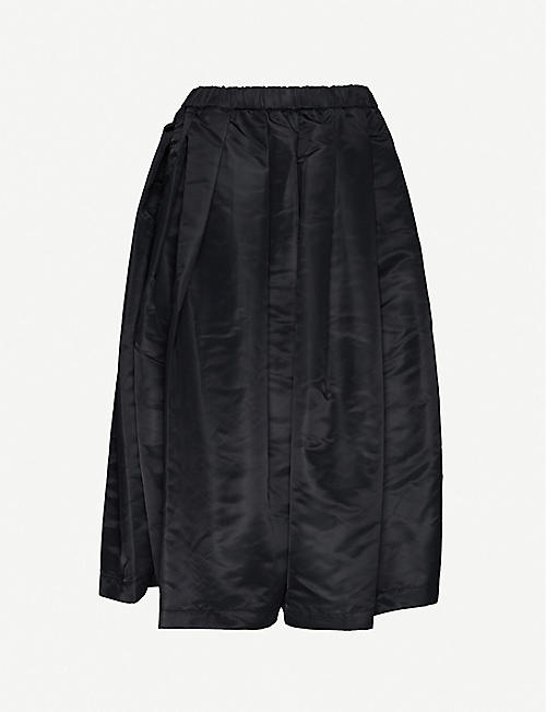 BLACK COMME DES GARCON: Pleated high-waist shell midi skirt