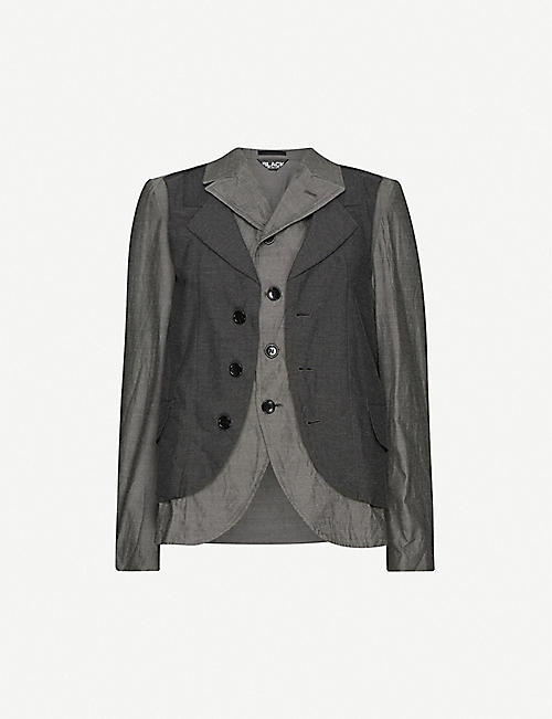 BLACK COMME DES GARCON: Single-breasted mixed woven blazer