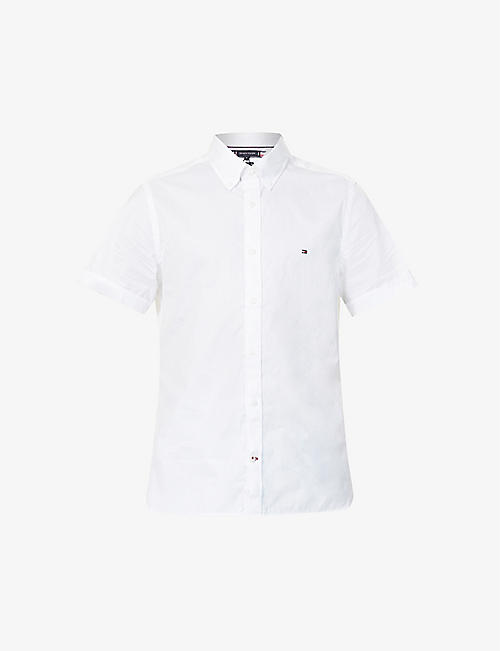 TOMMY HILFIGER: Short-sleeved slim-fit cotton shirt
