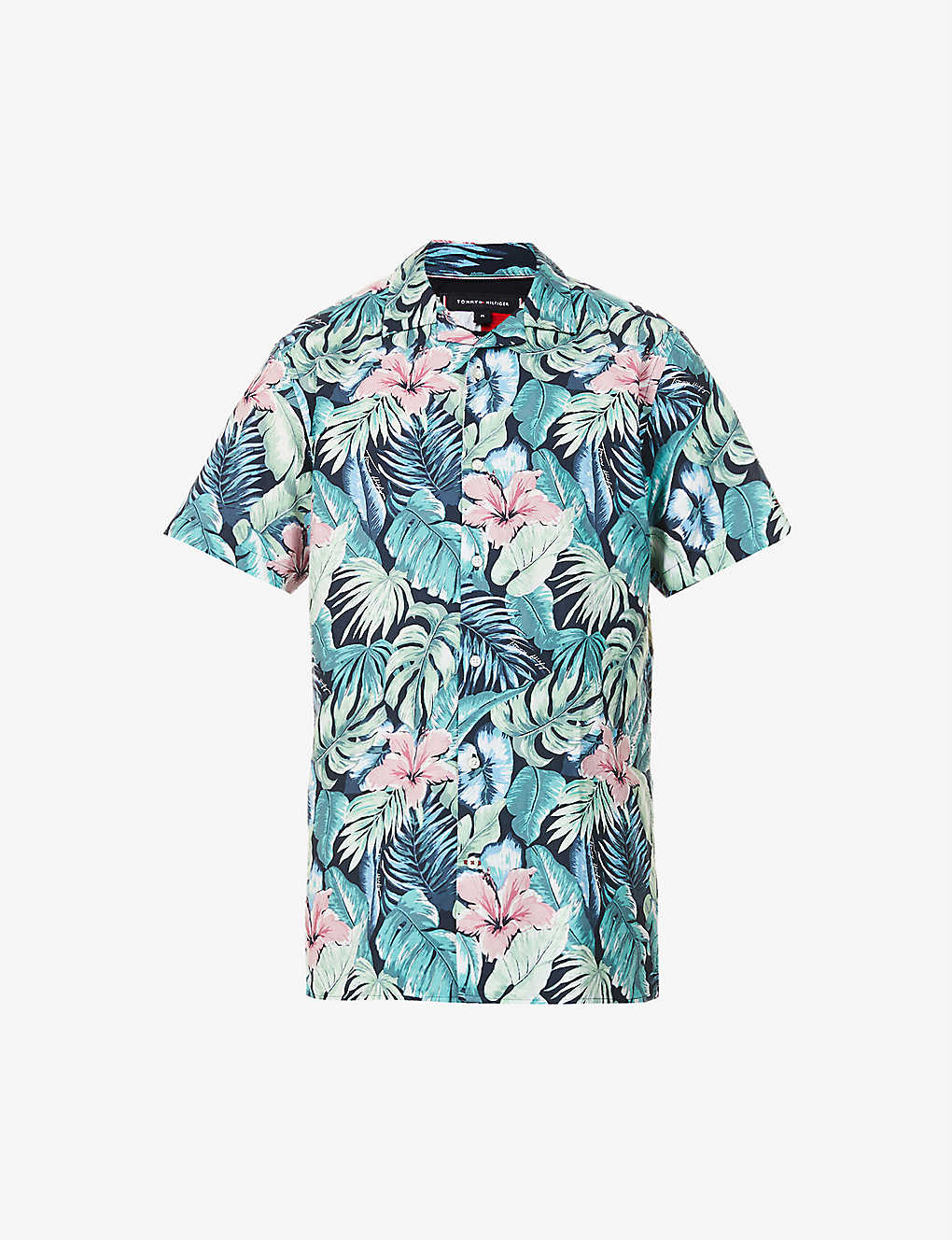 TOMMY HILFIGER: Hawaiian floral-print regular-fit cotton and linen-blend shirt