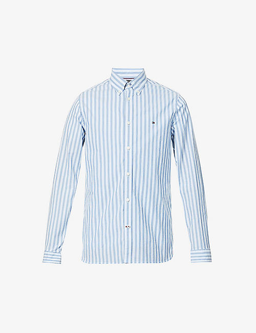 TOMMY HILFIGER: Logo-embroidered striped cotton-blend shirt