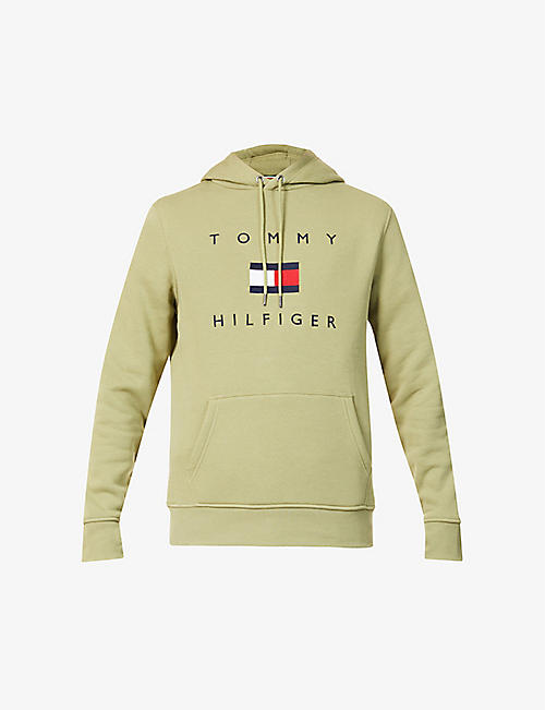 TOMMY HILFIGER: Logo-embroidered cotton-jersey hoody