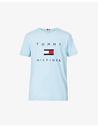 TOMMY HILFIGER: Logo-embroidered cotton-jersey T-shirt