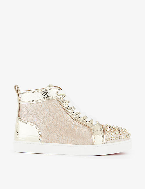 CHRISTIAN LOUBOUTIN: Lou spikes woman flat clf beauty/gr refl