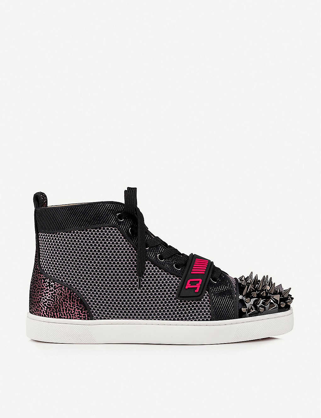 CHRISTIAN LOUBOUTIN: Ac Lou Spikes Orlato suede and textile trainers