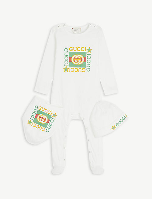 GUCCI: Logo-print baby grow, hat and bib set 0-18 months