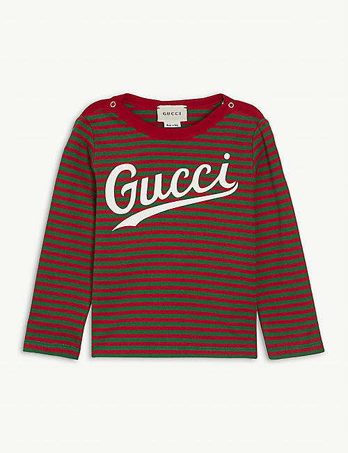 GUCCI: Logo-print stretch-cotton T-shirt 9-36 months