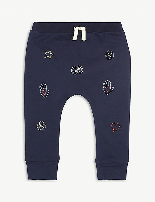 GUCCI: Multi-logo embroidered cotton-jersey jogging bottoms 6-36 months