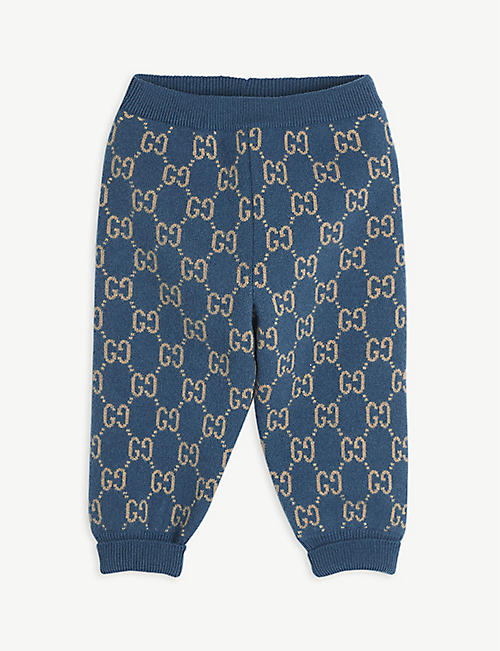 GUCCI: Supreme logo-intarsia wool jogging bottoms 12-36 months