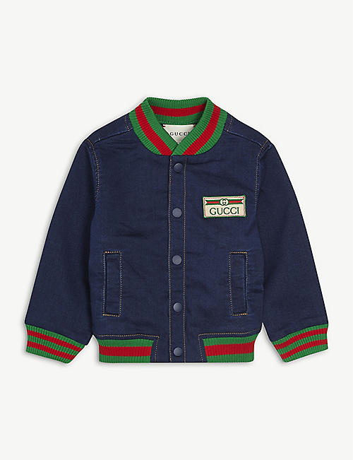 GUCCI: Logo-embellished denim bomber jacket 9-36 months
