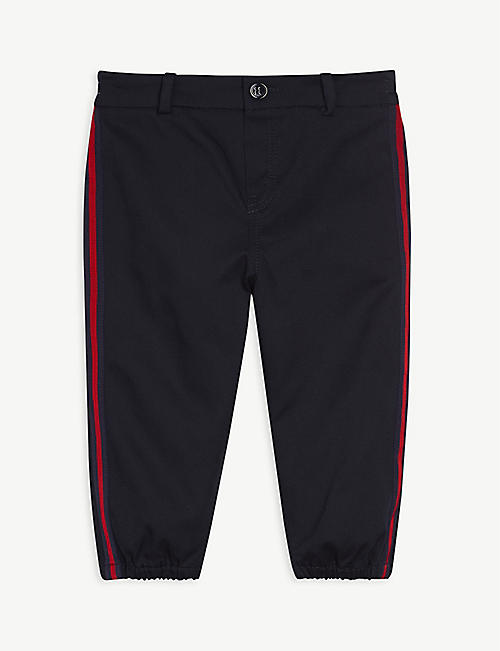 GUCCI: Logo-embroidered cotton trousers 12-36 months