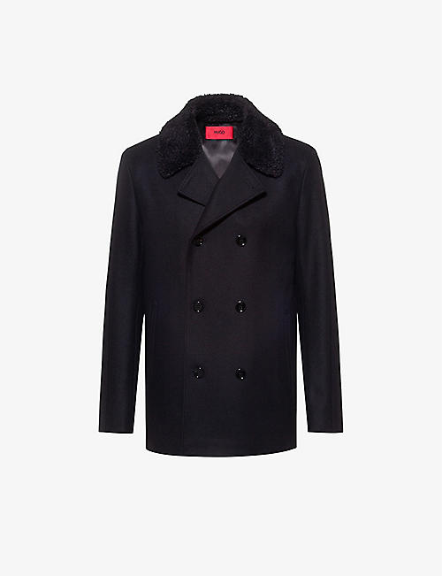 HUGO: Double-breasted wool-blend coat