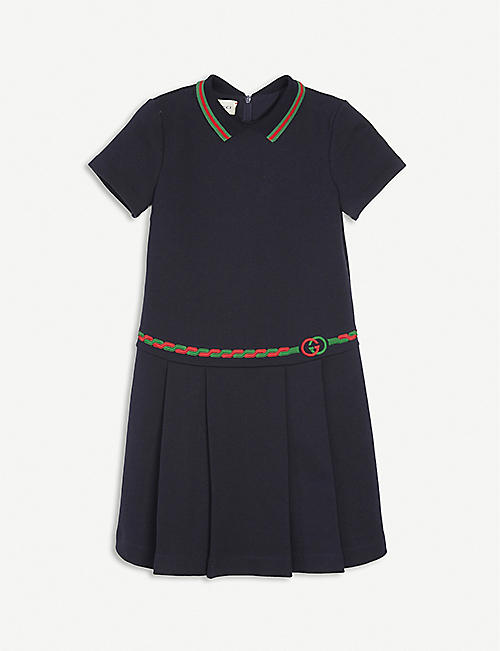 GUCCI: Belt-embroidered cotton-jersey dress 4-12 years