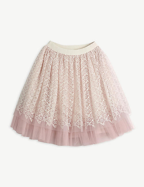 GUCCI: GG logo-embroidered high-waisted tulle skirt 4-12 years