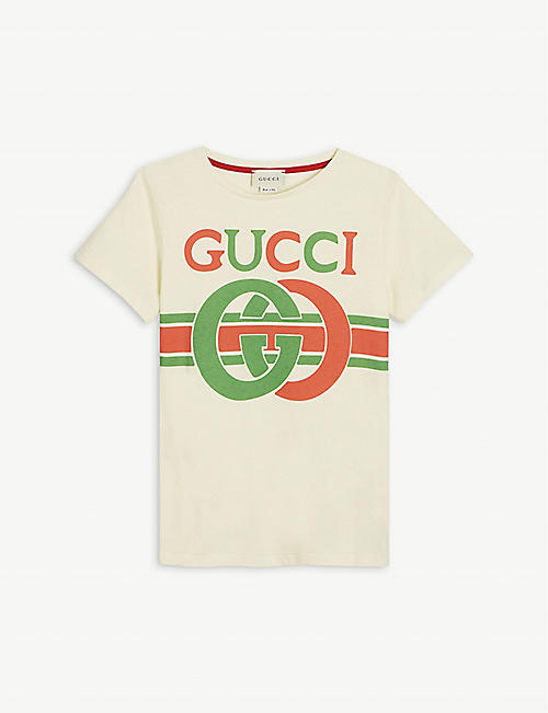 GUCCI: GG insignia logo cotton T-shirt 4-10 years