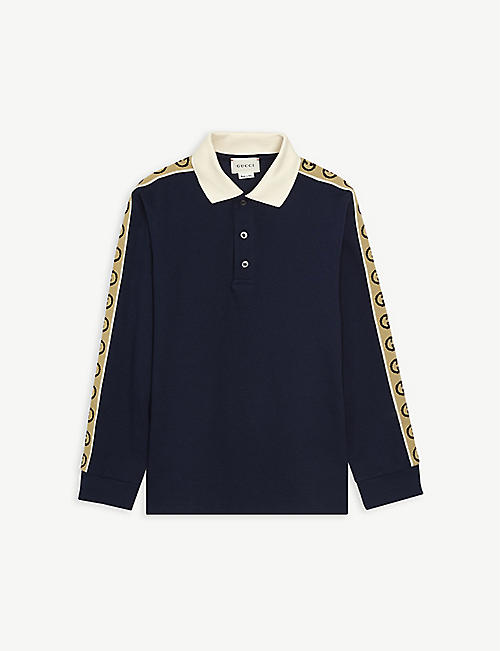 GUCCI: Logo-tape cotton polo shirt 4-12 years