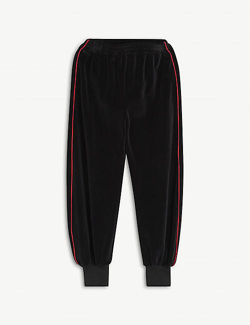 GUCCI: Side-striped velvet jogging bottoms 4-12 years