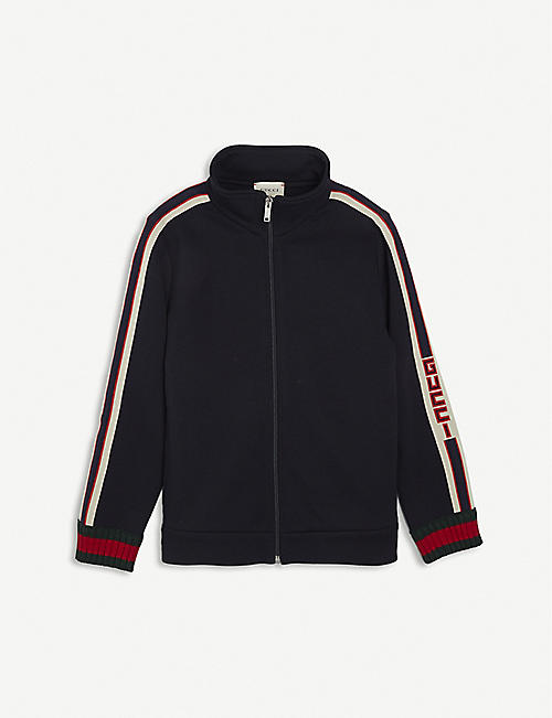 GUCCI: Logo-tape cotton sweatshirt 4-12 years