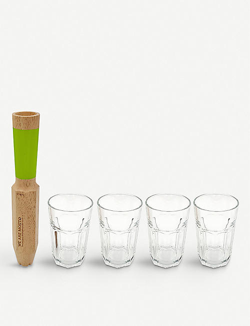 COOKUT: Wooden Mojito tool and set of four glasses