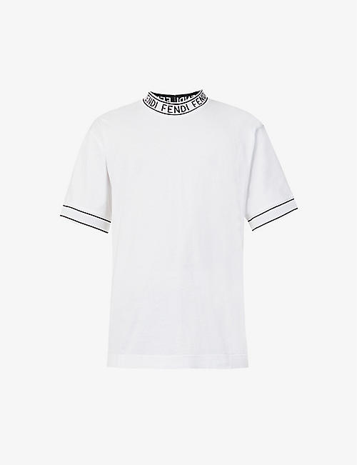 FENDI: Brand-pattern cotton-jersey T-shirt