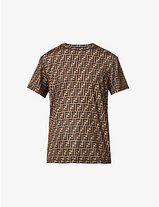 FENDI: Logo-print crewneck cotton-jersey T-shirt