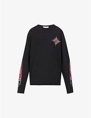 RHUDE: Graphic-print cotton-jersey top