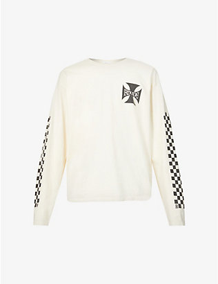 RHUDE: Brand-print oversized cotton-jersey top