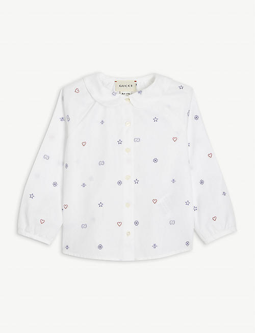 GUCCI: GG logo-embroidered cotton shirt 12-36 months