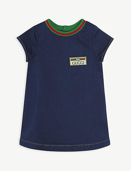 GUCCI: Gucci-logo denim dress 3-36 months