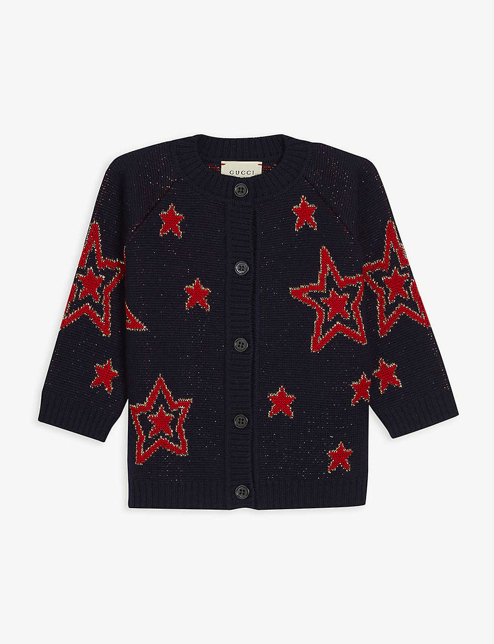 GUCCI: Star-embroidered wool cardigan 3-36 months