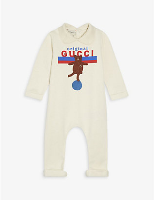 GUCCI: Original Gucci log-print and bear-embroidered cotton babygrow 0-24 months