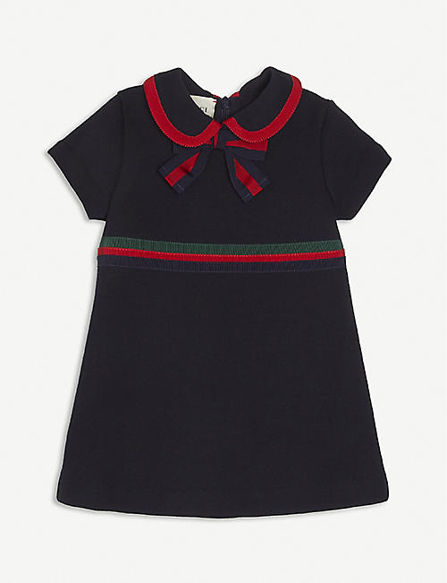 GUCCI: Bow-detailed cotton-jersey dress 3-36 months