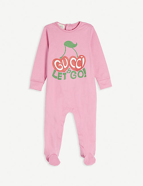 GUCCI: Cherry logo-print cotton baby grow 3-24 months