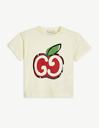 GUCCI: Apple GG logo-embroidered cotton T-shirt 3-36 months