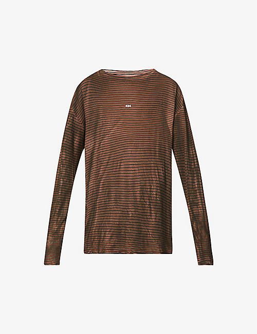 424: Branded stripe-print cotton-knit T-shirt