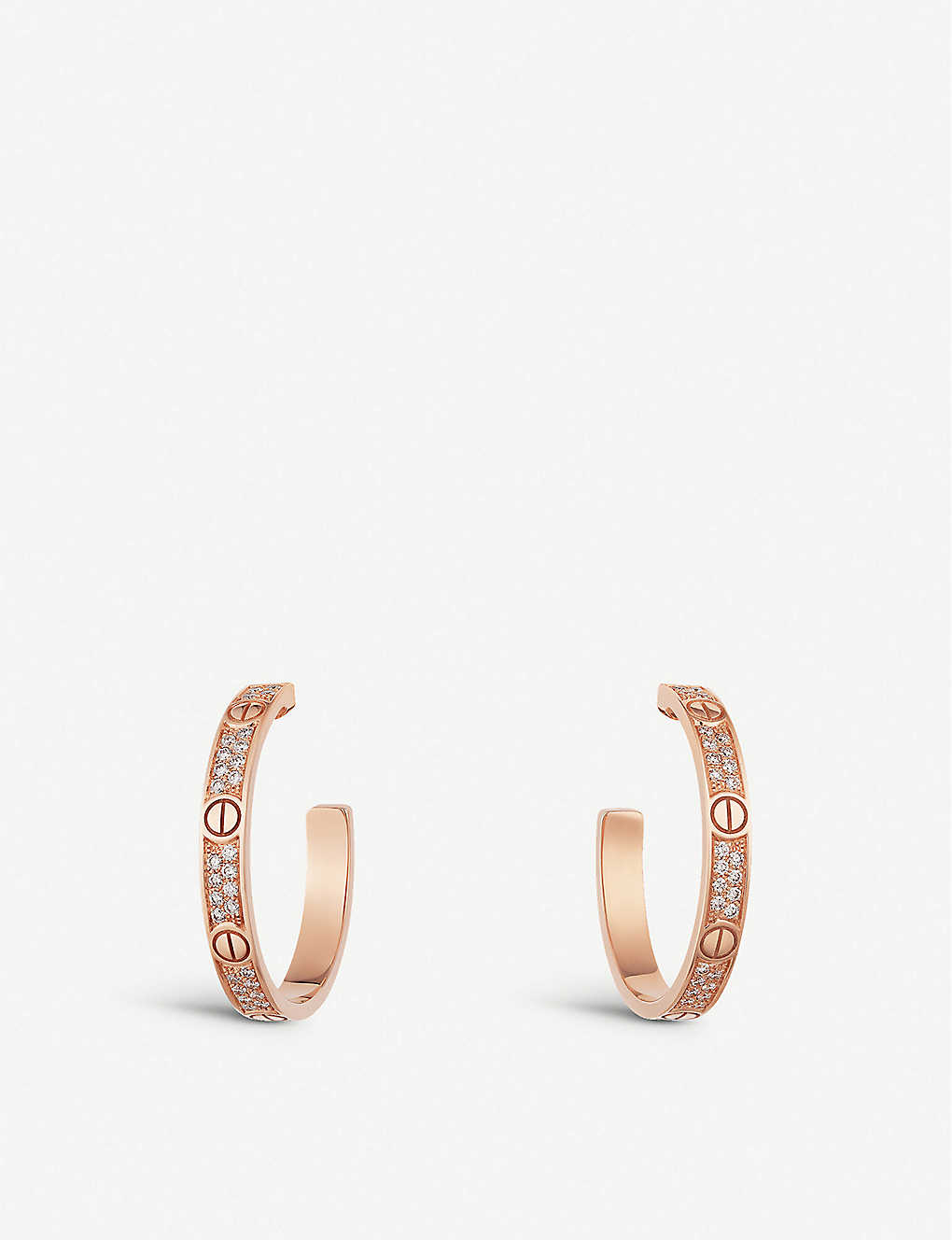 CARTIER: Love 18ct rose-gold and diamond earrings