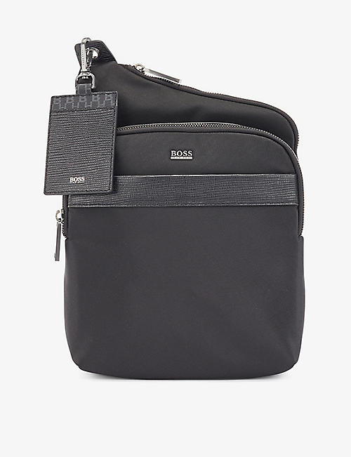 BOSS: Dual-compartment nylon cross-body bag