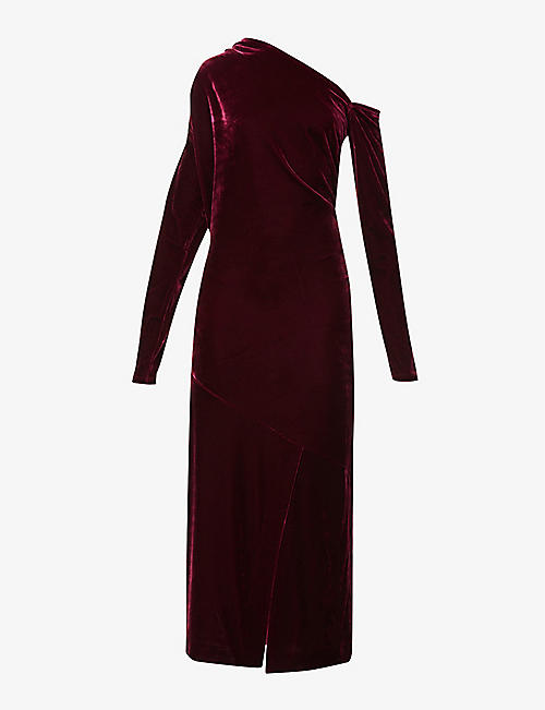 REISS: Bella asymmetric-neckline velvet dress