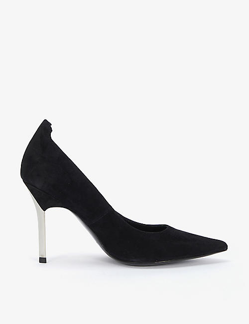 REISS: Chantelle metallic-heel suede courts